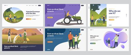 People gardening set. Couple, kids planting seedlings, driving tractor, camping. Flat vector illustrations. Farming, outdoor activity concept for banner, website design or landing web page