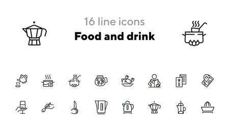 Food and drink icons. Set of line icons on white background. Menu, teapot, wine, restaurant location. Restaurant concept. Vector illustration can be used for topics like catering, service, kitchenware