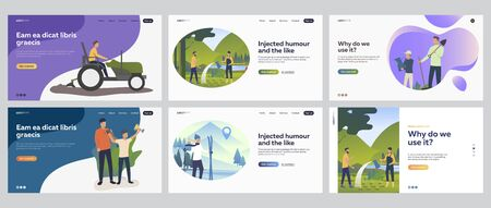 Summer and winter outdoor activities set. People gardening, skiing, enjoying leisure time outdoors. Flat vector illustrations. Vacation, farming concept for banner, website design or landing web page Ilustração