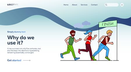 Group of sportsmen running marathon vector illustration. Sprinters crossing finish line, sport-jogging tournament. Healthy lifestyle and outdoor summer activity concept. 向量圖像