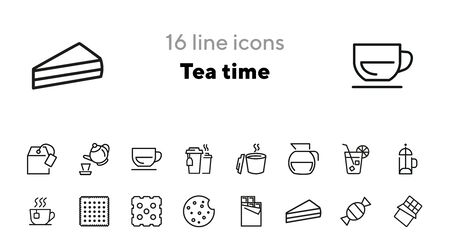 Tea time icons. Set of line icons. Cheesecake slice, bar of chocolate, french press. Tea break concept. Vector illustrations for topics like business process, everyday routine, food, office life