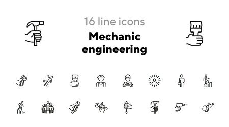 Mechanic engineering icons. Set of line icons on white background. Worker, equipment, drill. Job concept. Vector illustration can be used for topics like working, mechanic, industry 일러스트