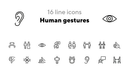 Human gestures line icon set. Set of line icons on white background. Ear, talking, dialogue. Communication concept. Vector illustration can be used for topics like human, connection, gesture system