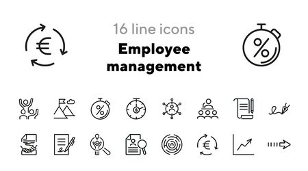 Employee management icons. Set of line icons. Signing document, stop watch, success sign. Workflow concept. Vector illustration for topics like business process,everyday routine, office life