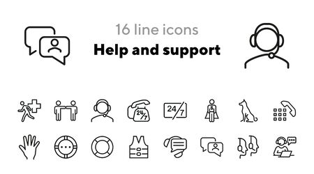 Help and support icons. Set of line icons. Call operator, sitting dog, urgent help. Help concept. Vector illustration can be used for topics like help, assistance