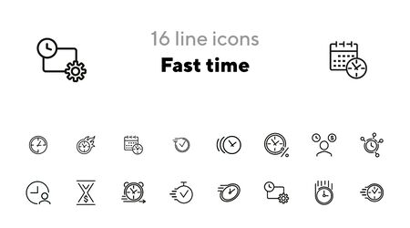 Fast time line icon set. Clock, watch, timer, motion. Timing concept. Can be used for topics like time management, schedule, deadline