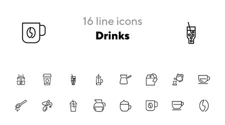 Drinks line icon set. Set of line icons on white background. Meal concept. Teapot, coffee, lemonade. Vector illustration can be used for breakfast, kitchen, cooking