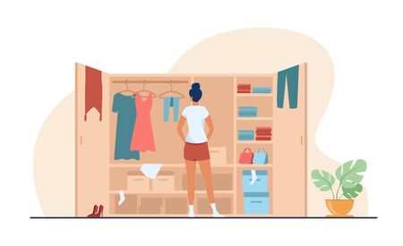 Woman choosing dress from wardrobe flat vector illustration. Young lady standing near opened closet. Pile of clothes laying on shelfs. Cartoon style. Organization and arrangement concept Ilustracja
