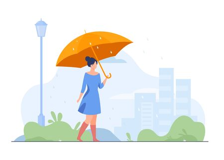 Young girl with orange umbrella flat vector illustration. Woman walking in rainy weather in park. City buildings on background. Rain season. Autumn and landscape concept.