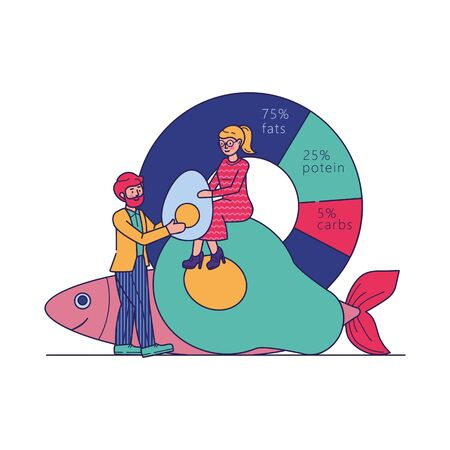 Man and woman keeping keto diet. People holding avocado, fish near nutritive value graph. Vector illustration for high fat food, nutrition, ketones concept