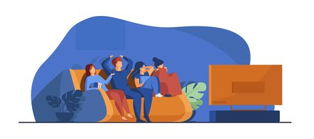 Friends watching horror movie. Group of young people sitting on sofa at TV, covering eyes. Vector illustration for leisure, friendship, Halloween concept