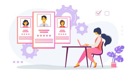 Recruit agent analyzing candidates. HR manager studying employees profiles on internet flat vector illustration. Rate, staff, human resource concept for banner, website design or landing web page