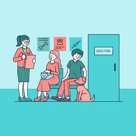 People with pets waiting for doctor in queue. Vet services for cat, medical care for dog vector illustration. Veterinarian clinic concept and pet owner sitting at hospital hall