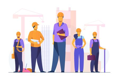 Construction team working on site. Builders, engineers, architects in helmets and overalls holding blueprints, toolkits, measuring tools. Vector illustration for building, engineering, labor