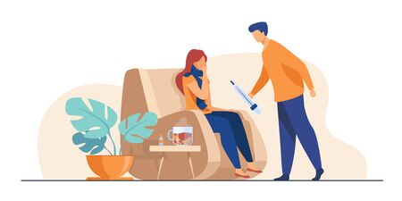 Woman in scarf catching cold and suffering from flu. Man taking care about sick girlfriend, giving thermometer to her. Vector illustration for infection, healthcare, illness concept
