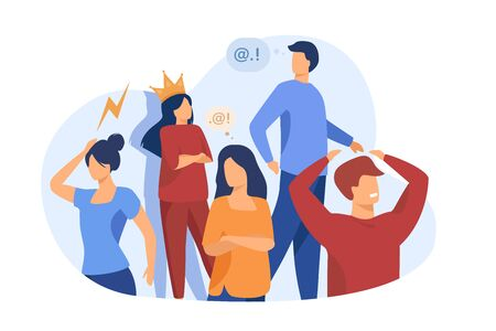 Group of people with problem behavior. Arrogant, angry, bored, selfish, proud man and woman failing in communication. Vector illustration for society, social skills concept Vektorgrafik
