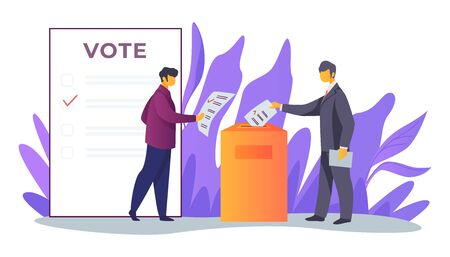 Voters inserting forms into ballot boxes. Presidential, congress, government election flat vector illustration. Democracy, poll, campaign concept for banner, website design or landing web page