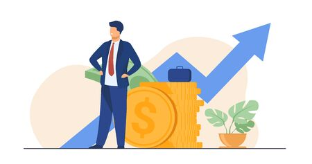 Successful entrepreneur or investor presenting stack of money and growth diagram. Businessman in suit standing at cash. Vector illustration for financial success, economy, trade concept