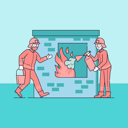 Firefighters extinguishing flame through window. Firemen watering ignition flat vector illustration. Firefighting emergency service concept. Professional aid from people in uniform doing job Ilustração