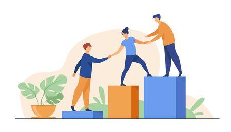 Employés donnant la main et aidant leurs collègues à monter les escaliers. Une équipe qui apporte son soutien, grandit ensemble. Illustration vectorielle pour le travail d'équipe, le mentorat, le concept de coopération