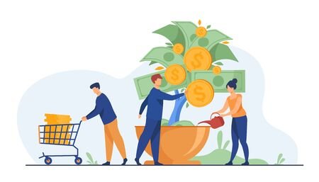 People growing money tree. Investors watering plant with cash, getting revenue. Vector illustration for business, finance, investment, growth, prosperity concept
