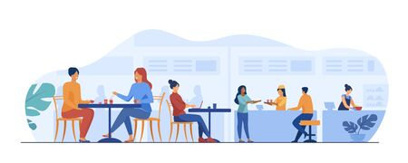 People eating in food court cafeterias. Cartoon characters sitting at cafe tables and having lunch or dinner. Vector illustration for restaurant interior, catering, shopping mall concept