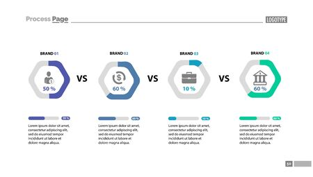 Four brand comparison chart slide template. Element of analysis, graph, diagram. Concept for business presentation, templates, annual report. Can be used for topics like trade, marketing, business Foto de archivo