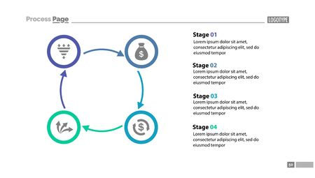 Four stages cycled process chart template with descriptions. Diagram, strategy, plan. Concept for presentation, templates, annual report. Can be used for topics like business, finance, banking Archivio Fotografico