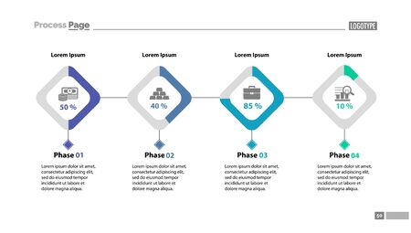 Four phases process chart slide template. Element of strategy, plan, diagram. Concept for business presentation, layouts, annual report. Can be used for topics like strategy, business, management