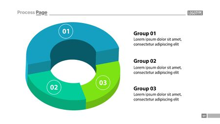 3d donut chart with three groups template. Element of graph, diagram, analysis. Concept for presentation, slide template, annual report. Can be used for topics like business, finance, management Stock Photo