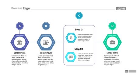 Four stages process chart slide template. Element of strategy, plan, diagram. Concept for business presentation, templates, annual report. Can be used for topics like business, management, finance Stock Photo