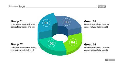 3d donut chart with four groups template. Element of graph, diagram, infographic. Concept for presentation, slide template, annual report. Can be used for topics like business, finance, management