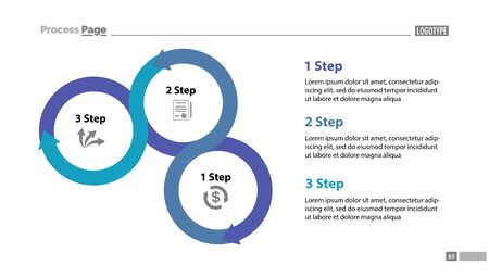 Three step process chart slide template. Diagram, strategy, plan. Concept for presentation, templates, annual reports. Can be used for topics like planning, management, organization