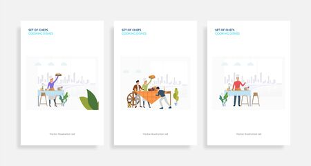 Set of chefs cooking dishes. Flat vector illustrations of cooking festive dinner, turkey, pumpkins. Cooking concept for banner, website design or landing web page