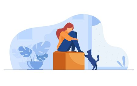 Lonely girl suffering from depression. Unhappy depressed young woman sitting, curling on couch at home, crying. Vector illustration for mental illness, sadness, stress concept Vettoriali