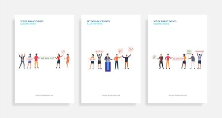 Set of public events illustrations. Flat vector illustrations of people protesting with placards or supporting candidate. Election concept for banner, website design or landing web page