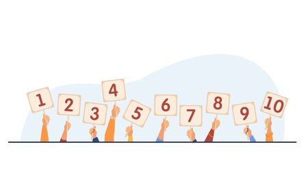 Jury giving evaluation and showing scorecards. Set of human hands holding cards with numbers, amount of scores, points. Vector illustration for competition, contest, judge, feedback, game concept