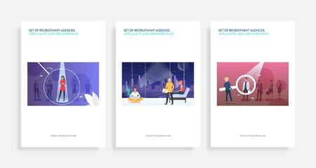 Set of recruitment agencies, applicants and job interviews. Flat vector illustrations of people in magnifying glasses. Hr, employment concept for banner, website design or landing web page