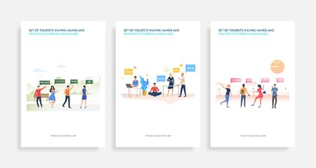 Set of tourists waving hands and practicing foreign languages. Flat vector illustrations of cartoon characters speaking various languages. Travel concept for banner, website design or landing web page