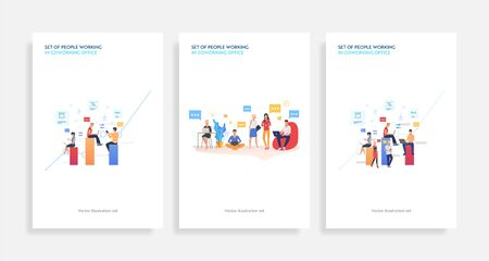 Set of people working in coworking office. Flat vector illustrations of men and women chatting and using devices. Communication for banner, website design, landing web page 向量圖像