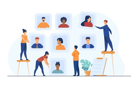 Employers choosing candidates for job interview. HR professionals analyzing applicant or employee profiles. Vector illustration for recruit agency, career, business, employment concept 向量圖像