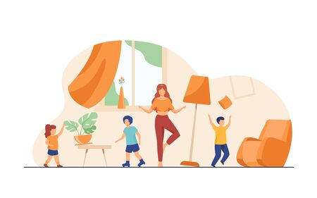 Mother standing calm in the middle of room flat vector illustration. Mischievous and naughty children making chaos. Parenting and behavior concept.
