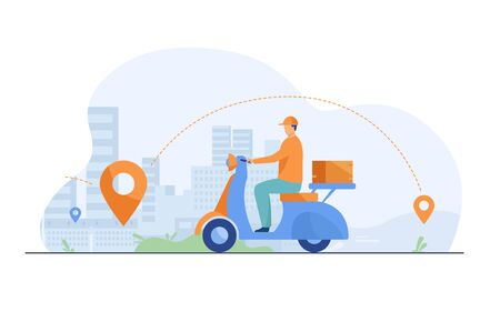 Courier shipping package at moped flat vector illustration. Cartoon service man delivering parcel and using GPS navigation. Order and express delivery concept. Foto de archivo - 143702754
