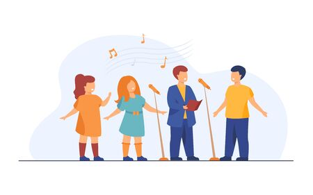 Children choir singing song in church flat vector illustration. Group of kids singing to microphone. Activity, music and entertainment concept.