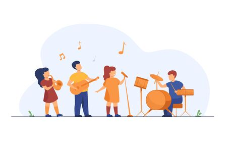 Cute young musicians at school music festival flat vector illustration. Cartoon children playing musical instruments and singer singing on party. Entertainment, performance and hobby concept
