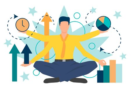Businessman character showing different business indicators. Result, progress, time. Can be used for topics like management, multitasking, presentation Иллюстрация