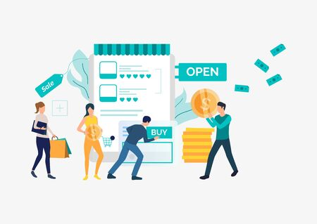 Bright sale presentation slide template. People standing in front of supermarket. Vector illustration can be used for topics like sale, shopping, promotion Vectores