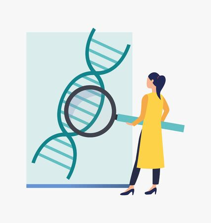 Scientist examining DNA. Science laboratory, clinical lab, experiments. Research concept. Vector illustration for webpage, landing page