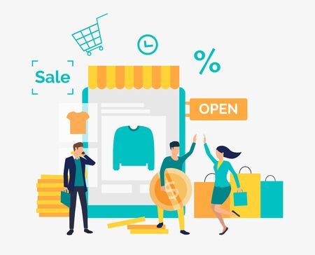 Happy people buying clothes in online shop. Purchase, shop, sale concept. Vector illustration can be used for topics like business, shopping, marketing