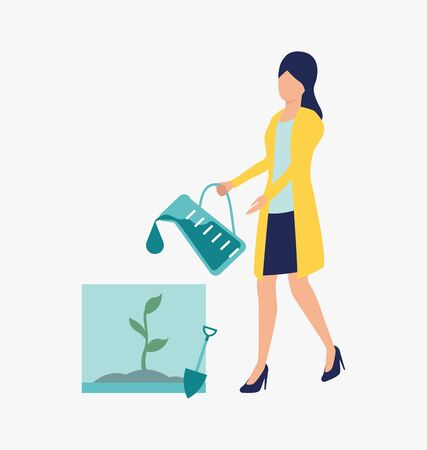 Scientist watering plant. Science laboratory, clinical lab, experiments. Research concept. Vector illustration for webpage, landing page